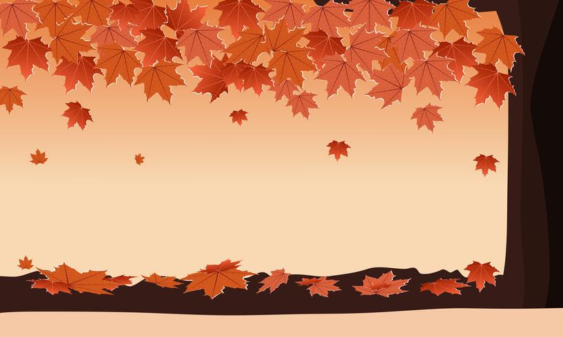 Autumn forest with falling maple leaves