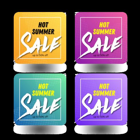 pacote de banner de venda quente de verão vetor
