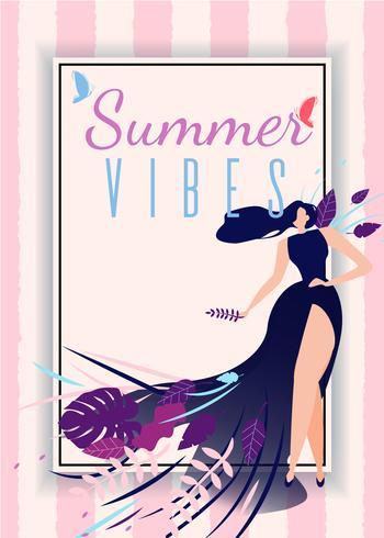 Summer Vibes Card with Cartoon Beautiful Woman