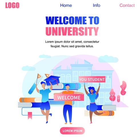 Välkommen till University Banner med glada studenter