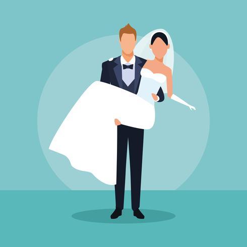 Casal de noivos dos desenhos animados vetor