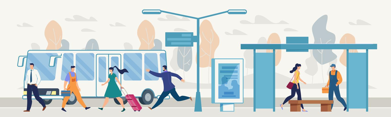 Passeggeri sulla fermata dell'autobus cittadino vettore