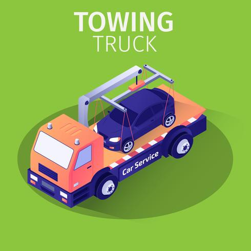 Towing Truck Assistance Service for Car Evacuation vector