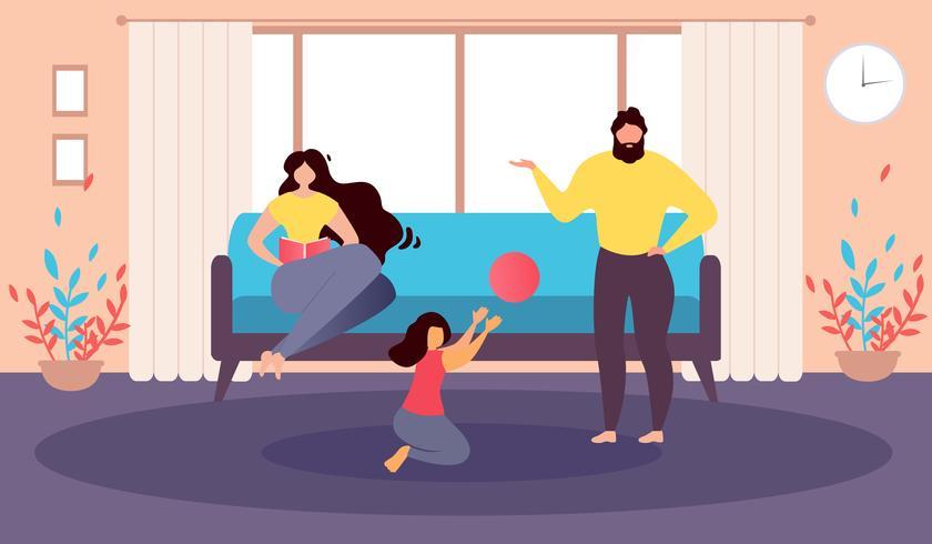 Família feliz em casa vetor