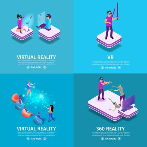 360 virtual reality square banners set vektor