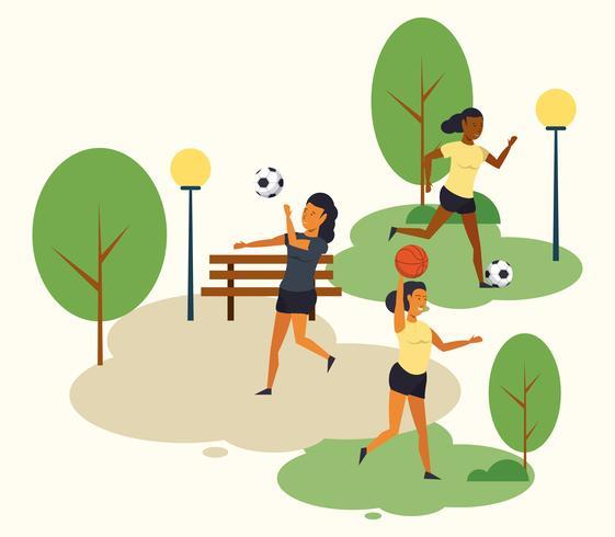 People training soccer at park cartoons