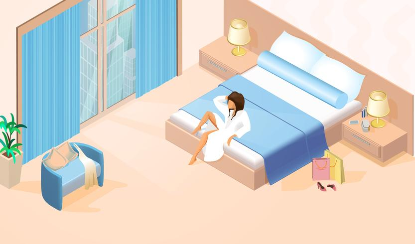 Bella dama en bata de baño blanca en cama doble vector
