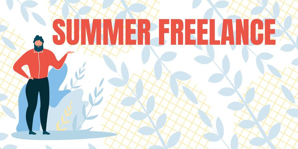 Flat Banner With Inscription Freelance Summer