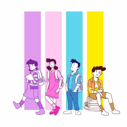 Back to School Students Illustration