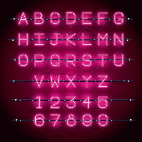Carattere alfabeto luci al neon
