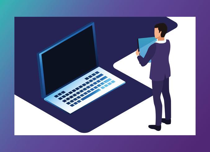 Tecnología digital símbolos azules