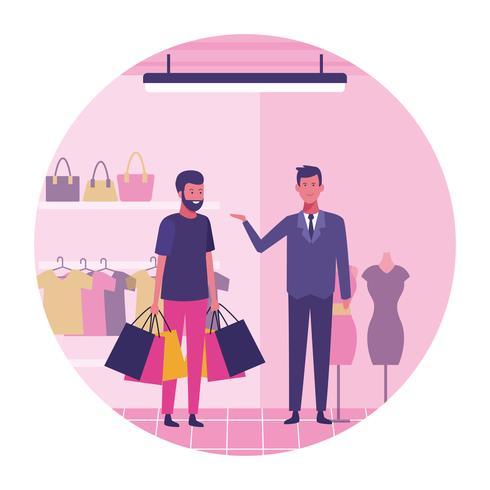 Homem, shopping vetor