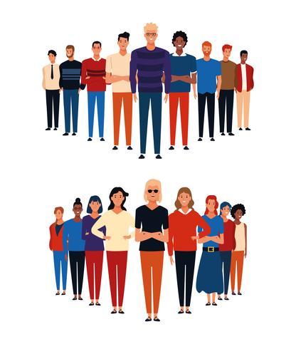 Avatar de grupos de personas vector