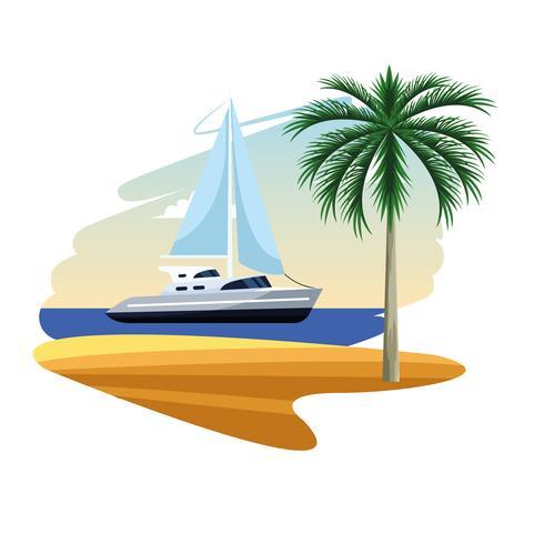 sailboat shore cartoon vector