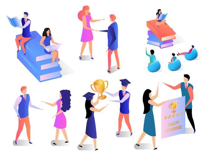 Lernende Leute eingestellt lokalisiert auf weißem Hintergrund