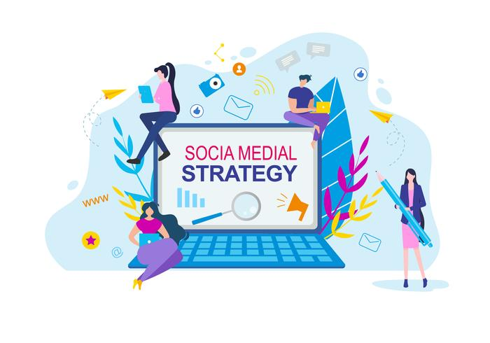 Social Media Strategy Cartoon People with Notebook vector