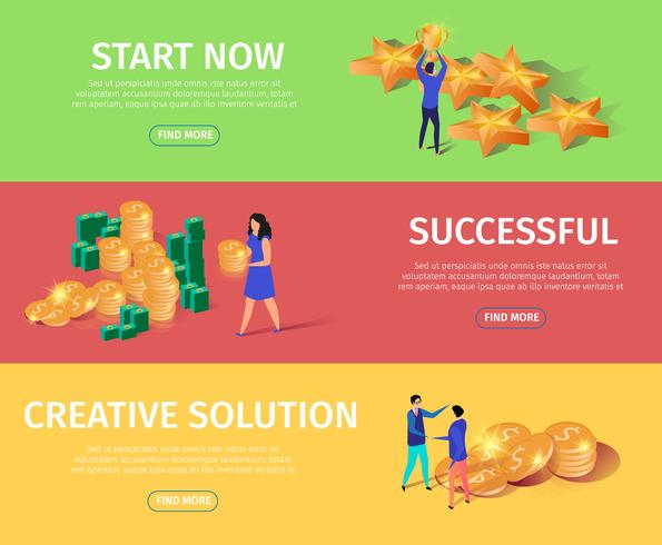 Horizontal Banners Set with Stars, Money, & People