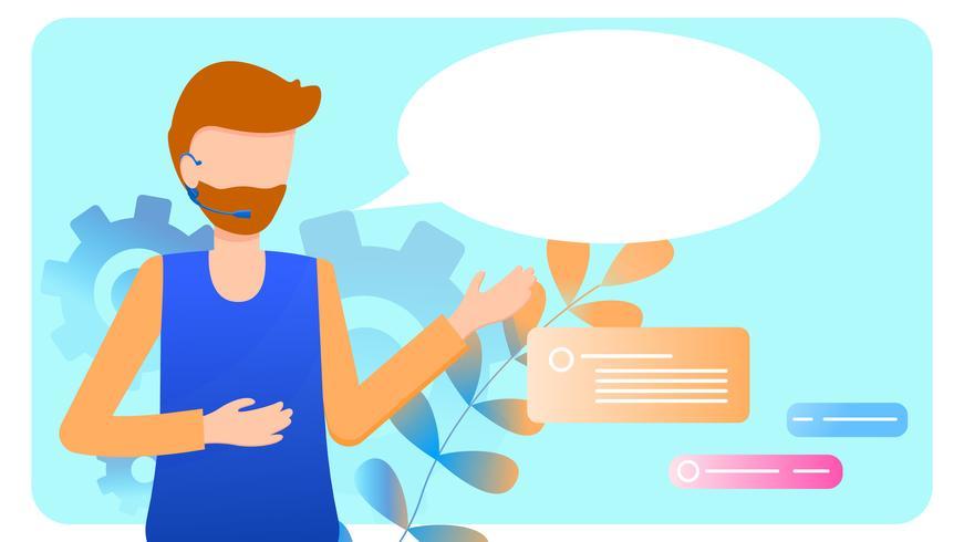 Man Wear Headset Call Center Service Helpdesk vector