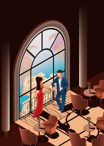 Schöne Frau und Mann im Restaurant nahe Fenster