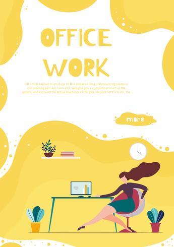 Banner de trabajo de oficina para aplicaciones comerciales móviles vector