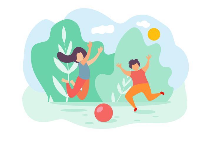 Crianças menino menina salto jogar brinquedo bola Park vetor