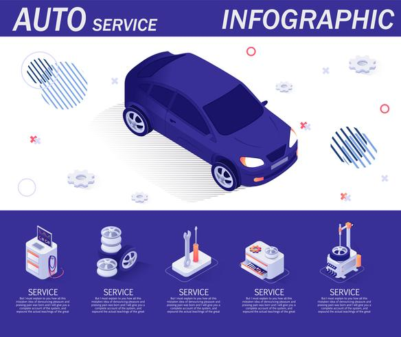 Auto Service Infographic with Isometric Icons vector