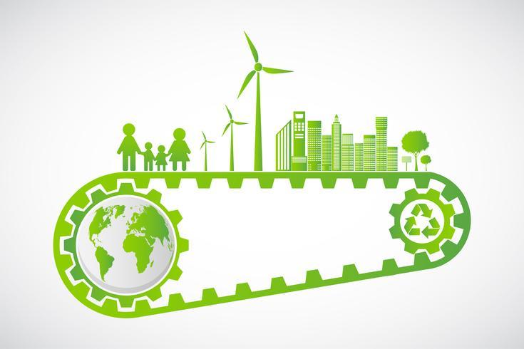 Het Concept van het ecologiebesparingsuitrusting en Ontwikkeling van het Milieu Duurzame energie, Vectorillustratie