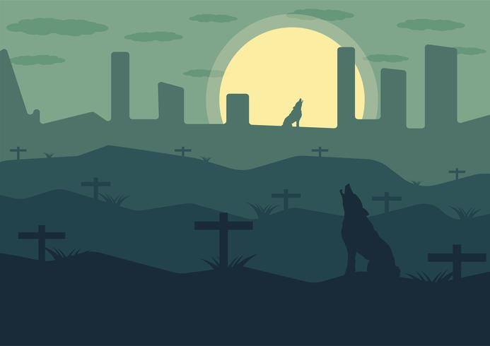 Wolf on the mountain with a grave at night