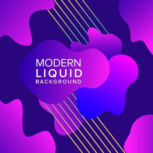 Purple Liquid color background design with trendy shapes composition
