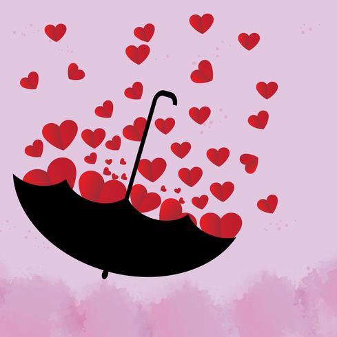 Röda hjärtan i ett svart paraply på rosa bakgrund