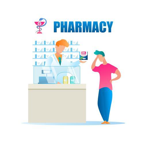Trabalhador de farmácia masculino em pé atrás de caixa registradora