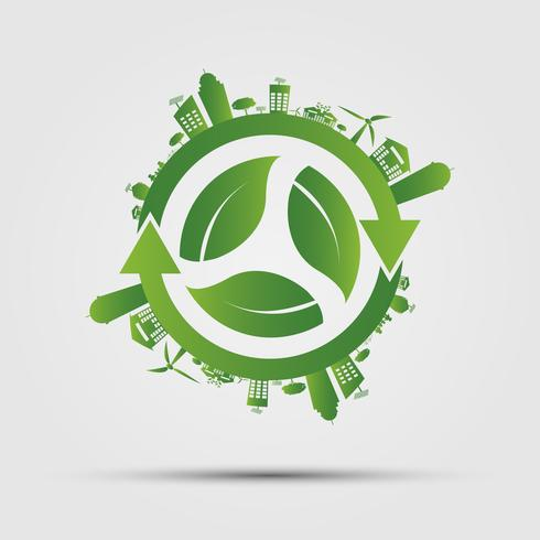 Concepto de ecología. salvar el mundo. vector