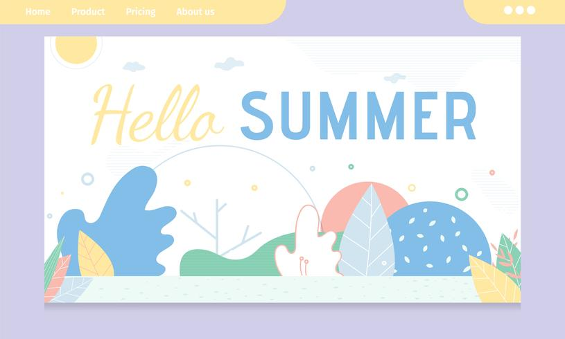 Hello Summer Greeting Banner with Abstract Design