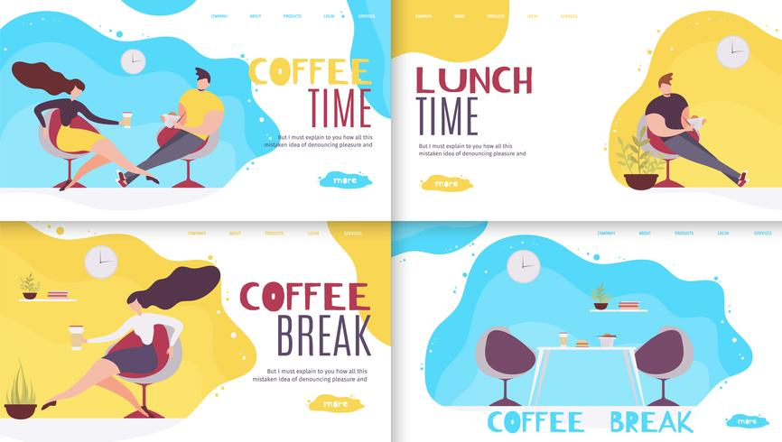 Break and Rest Time in Office Landing Page Set
