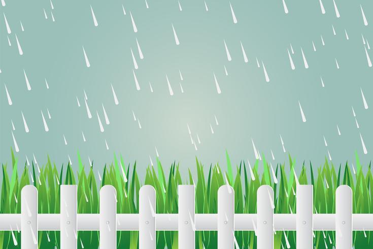 Cerca de grama no dia com chuva torrencial vetor