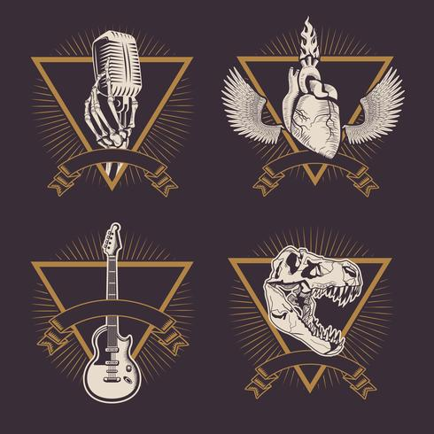 Vintage rock emblems drawings vector