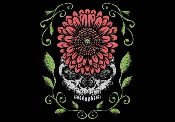 skull with flower decoration