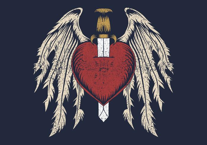 coração partido com asas vetor