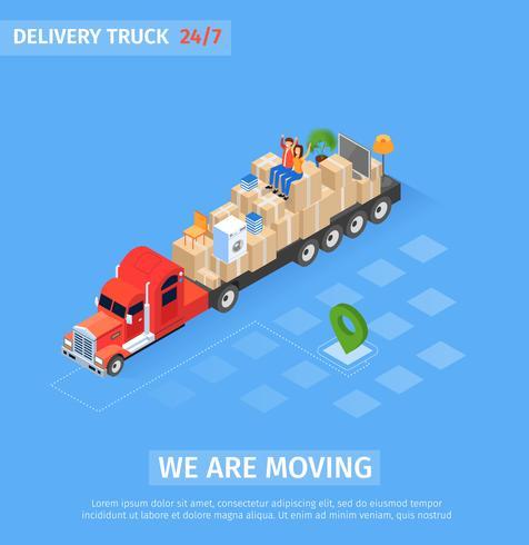 Iscrizione del camion di consegna della bandiera che ci stiamo muovendo vettore
