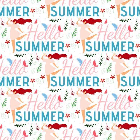 Olá Verão feminino sem costura plana padrão vetor