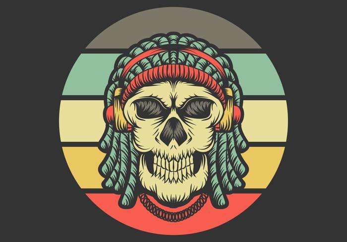 schedel met dreadlocks die hoofdtelefoons dragen