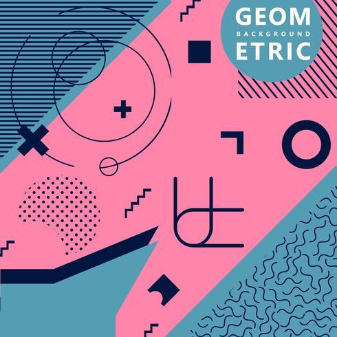 Fond de hipster hipster de formes géométriques tendance rose et bleu vecteur