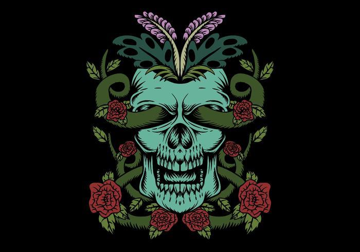cráneo con decoración de rosas