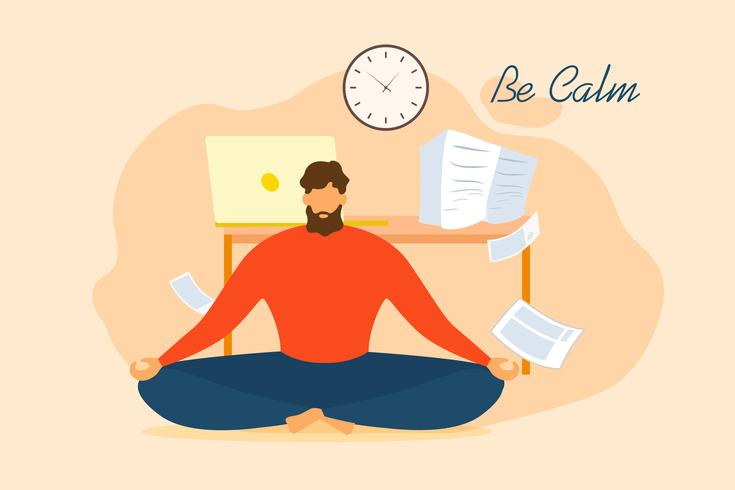 Man Be Calm Meditate Relief stress Office vettore