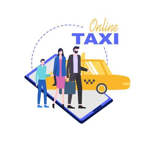 Servicio de telefonía móvil en línea de taxi vector