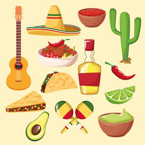 mexican food and elements vector