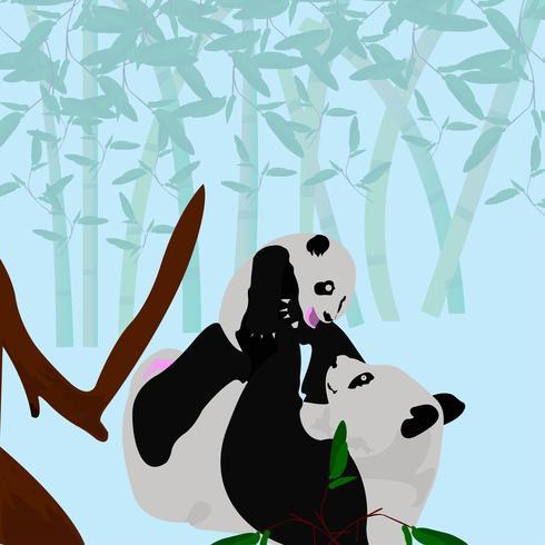 Madre panda jugando con su bebé panda vector