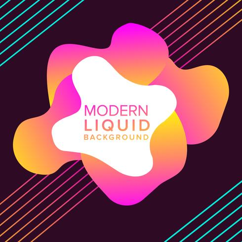 Pink and Orange Liquid color background design with trendy shapes composition vector