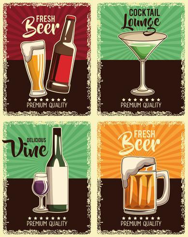 conjunto de cartaz de bebidas vintage