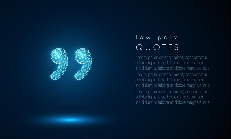 Abstract 3d quotes. Low poly style design.